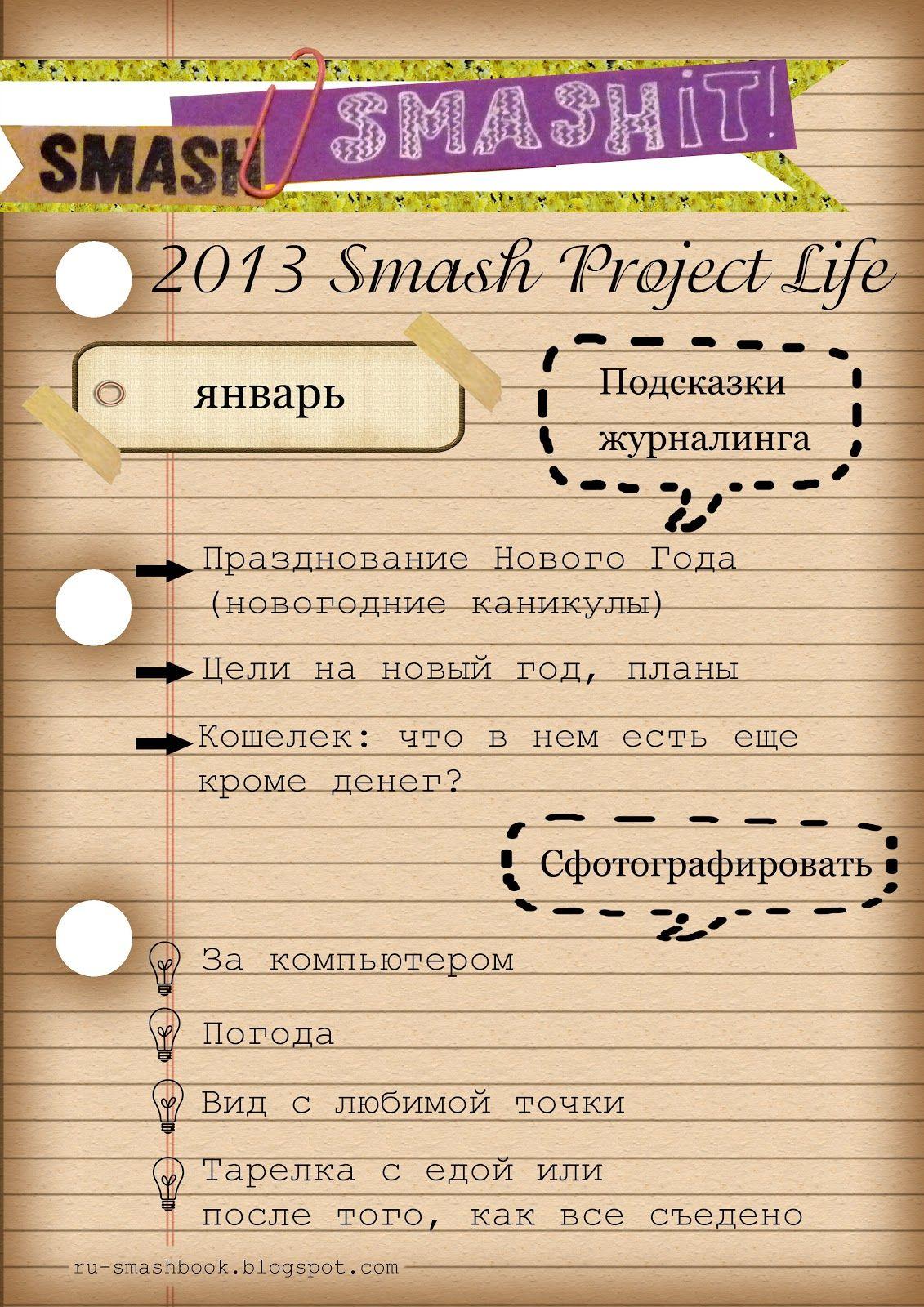 SmashIt!: Smash Project Life. Подсказки на январь (january)