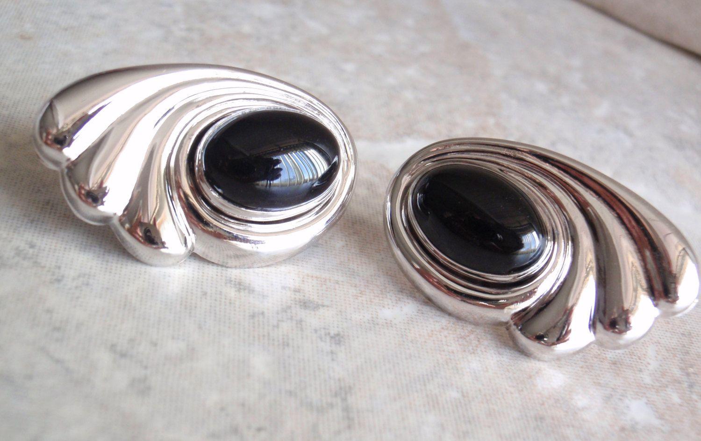Sterling Silver Onyx Post Earrings Carla Swirl Wave Vintage V0069 by cutterstone on Etsy