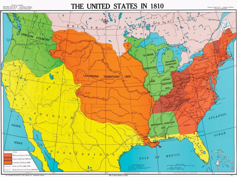 United States in 1810 US History Map