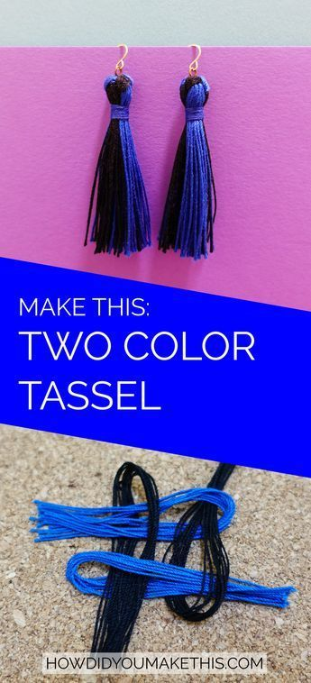 TwoColor Tassel Earrings is part of Tassels tutorials, Diy jewelry, Tassels, Diy tassel, Diy earrings, Jewelry making - How to make a pretty pair of fashionable tassel earrings in whatever color and length you want  The supplies can be found at any craft store!