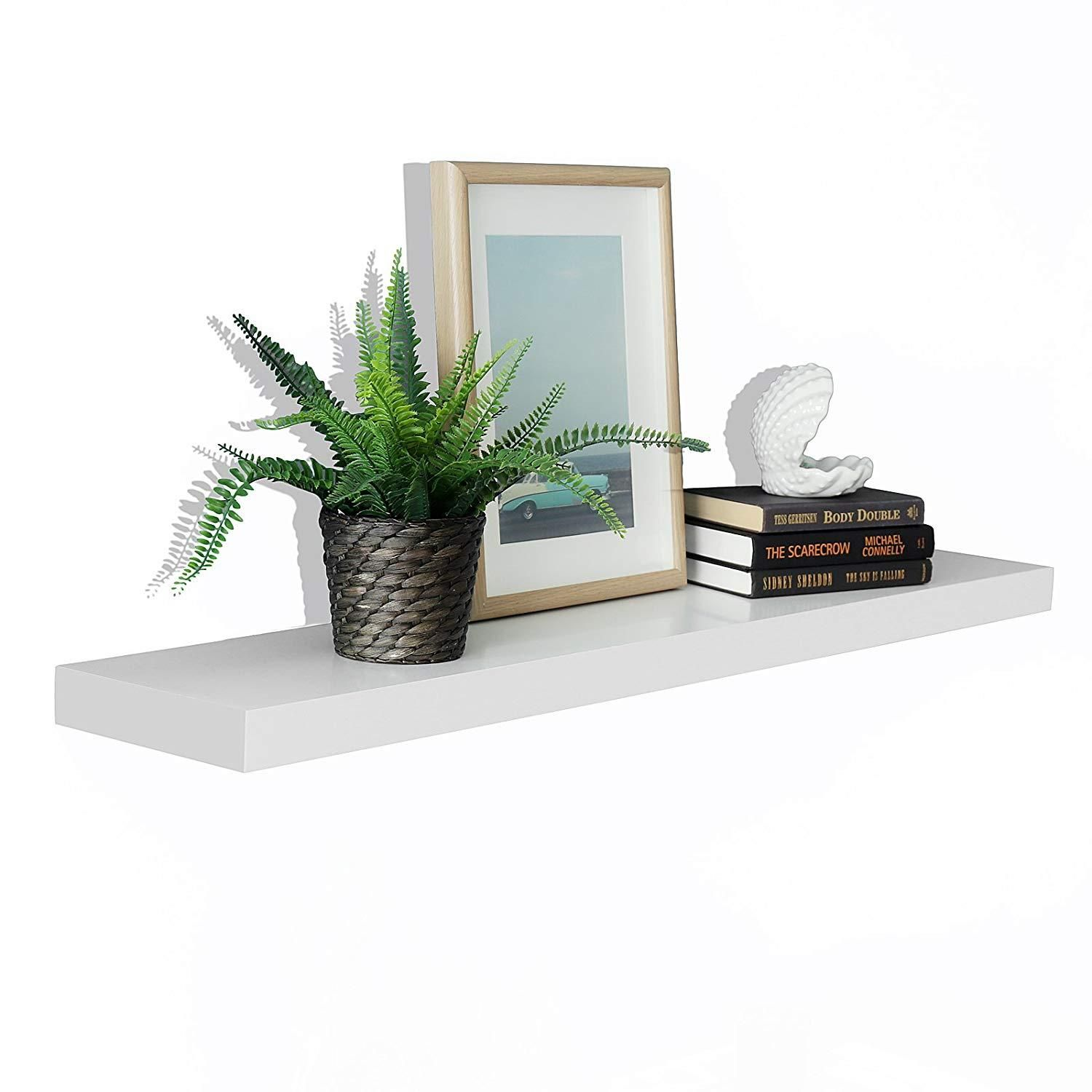 Magnificent New Chicago Floating Wall Shelf White 59 5L X 9 25D X 2 Download Free Architecture Designs Embacsunscenecom