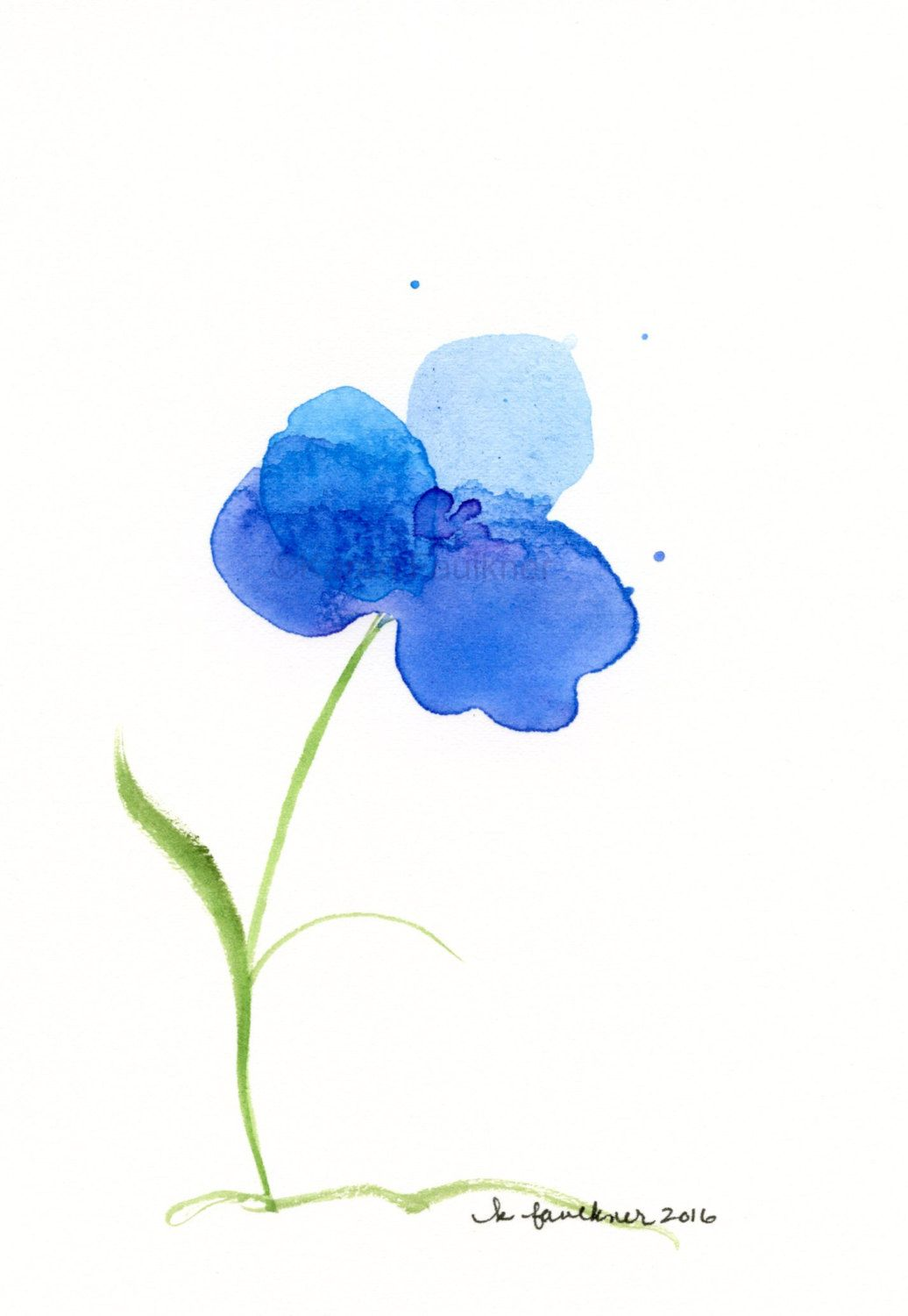 Original Watercolor Painting Of A Blue Flower Water Orchid By