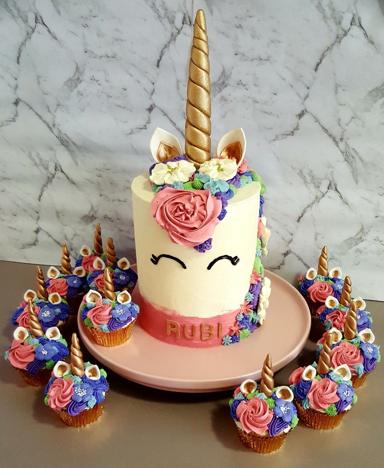 Whimsical Unicorn Cake And Pretty Little Cupcakes To Match June