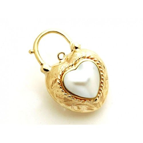 9ct Mabe Heart French Twist Padlock. gerrim.com