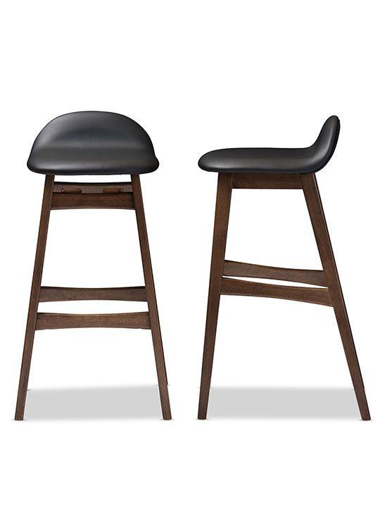 Ploom Leather Mid Century Barstool 2 Set Bar Stools