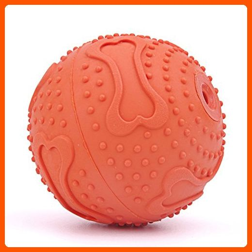 ThinkPet Rubber Squeaky Ball Dog Toy 2.4 Inch Orange