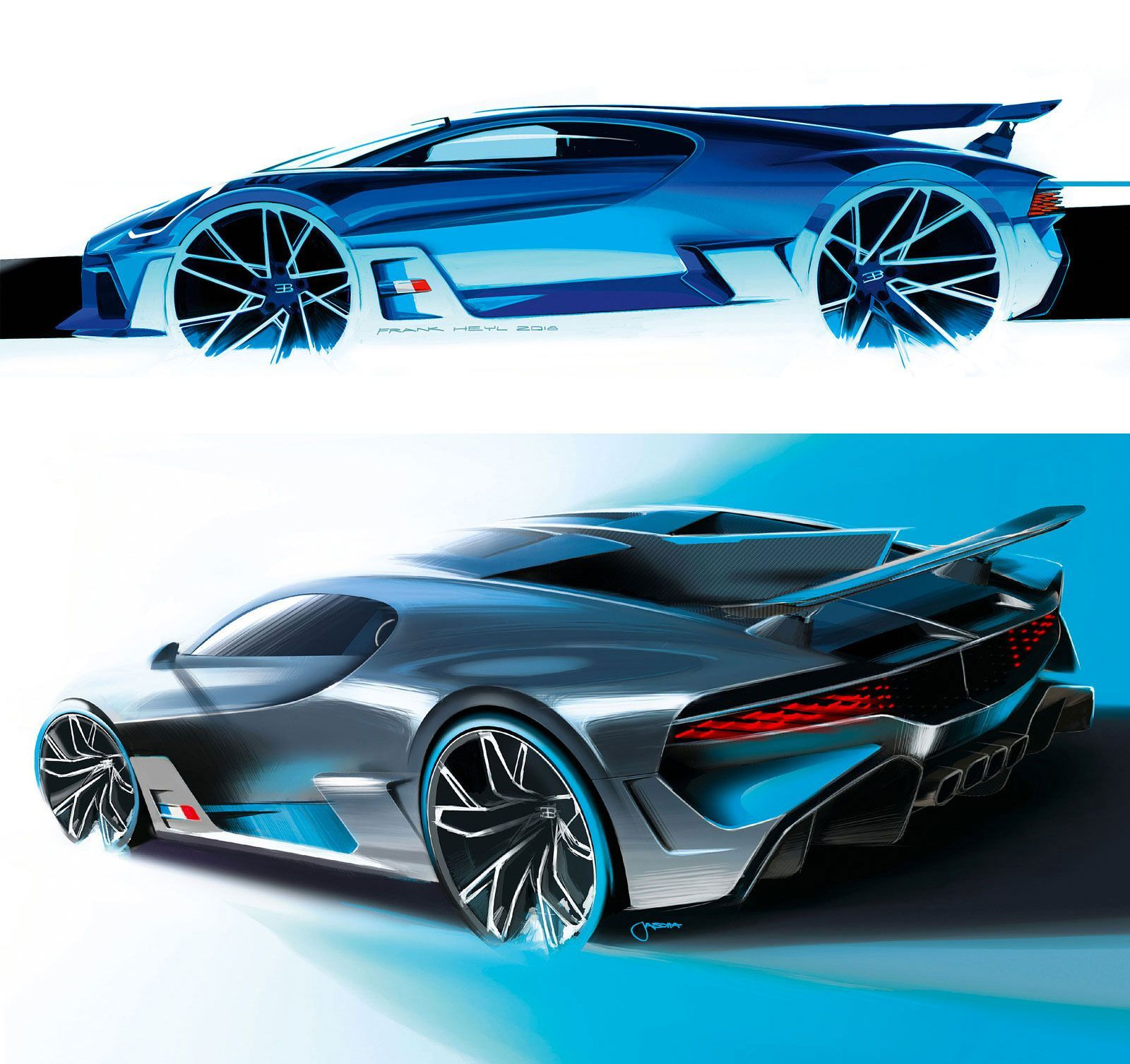 Bugatti Divo Official Design Sketches By Head Of Exterior Design Frank Heyl And Exterior Designer Jascha Strau Concept Car Design Car Design Automotive Design