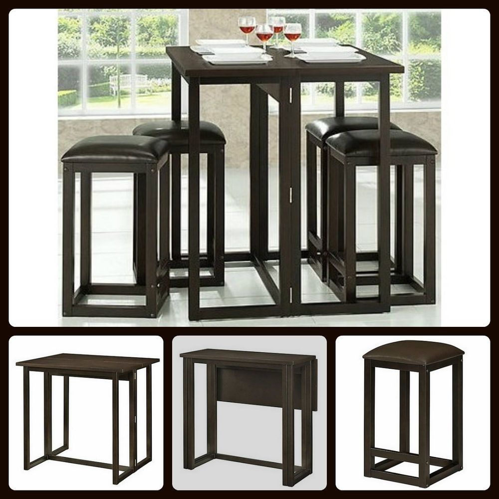 Dining Table Set 5-Piece Wood Bar Stools Chair Pub Collapsible Space ...