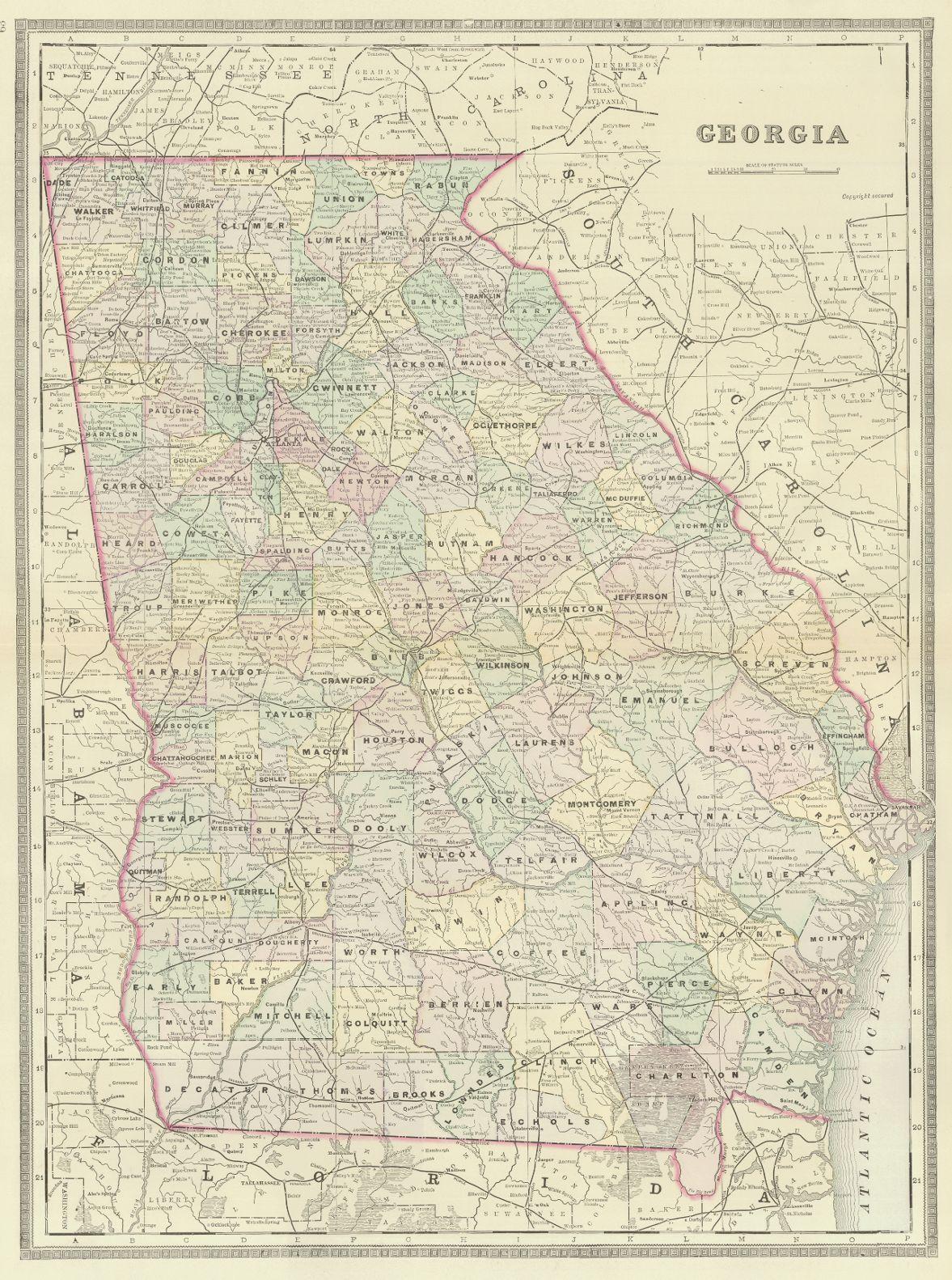 Map Of Georgia Railroads.Map Antique Georgia Wm M Bradley C 1888 Philadelphia