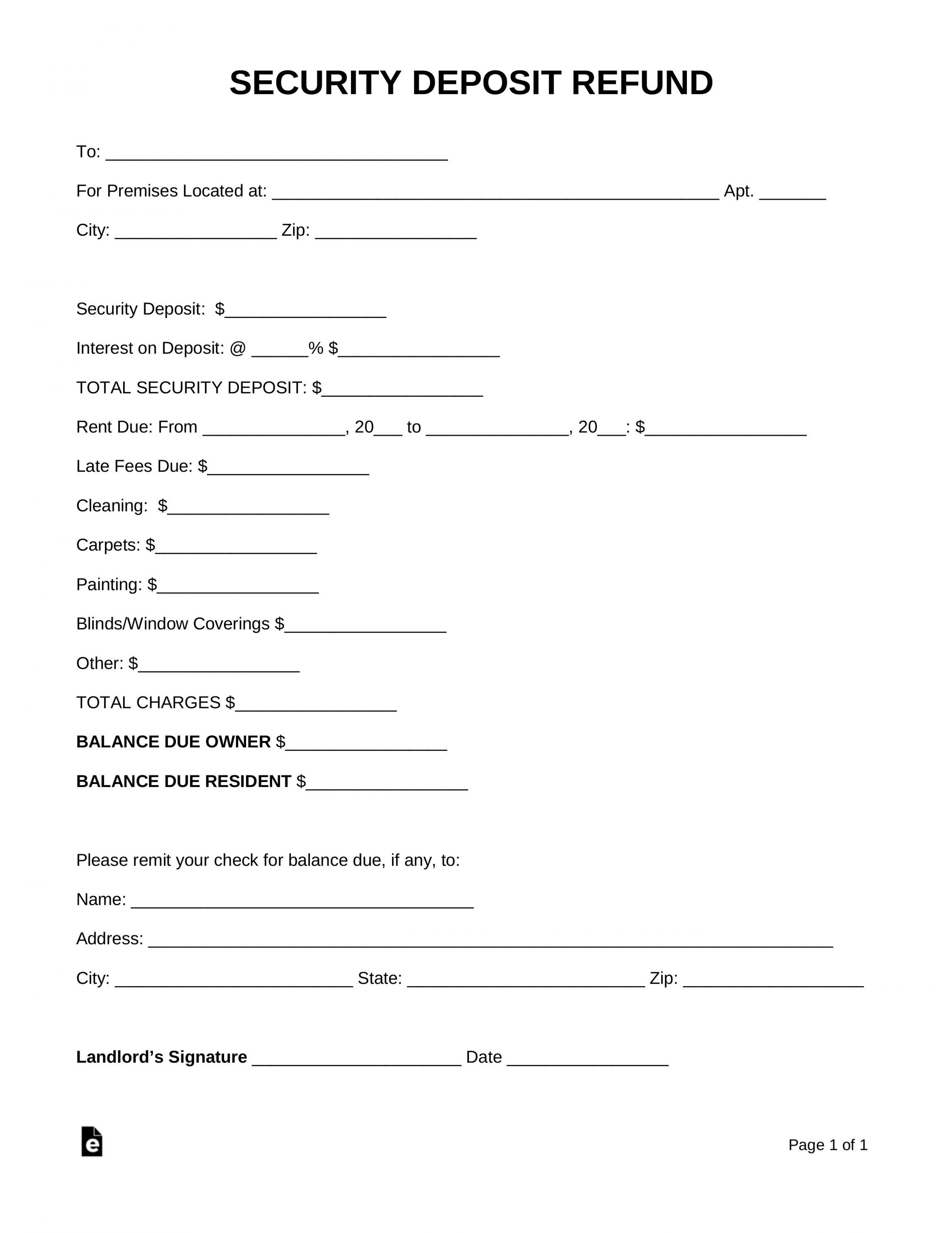 Rental deposit refund letter sample in 2020 letter