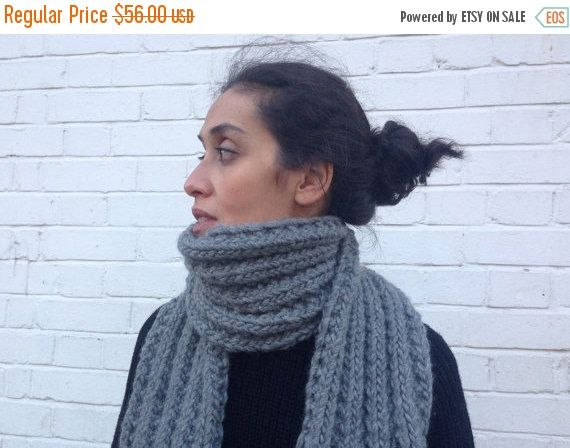 Photo of Items similar to XMAS SALE 25% OFF Chunky Grey scarf / knitted /The Estella on Etsy