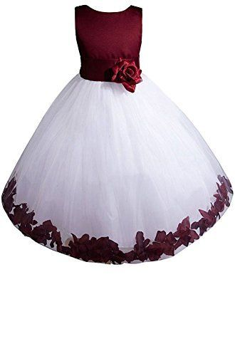 Red Flower Girls Satin Tulle Dress Christmas Pageant Holidays Party Easter 352
