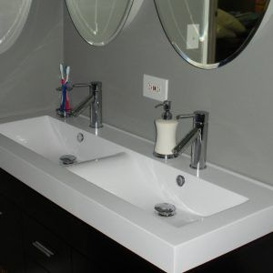 Undermount Trough Bathroom Sink With Two Faucets Trough Sink Bathroom Single Hole Bathroom Faucet Bathroom Sink Faucets