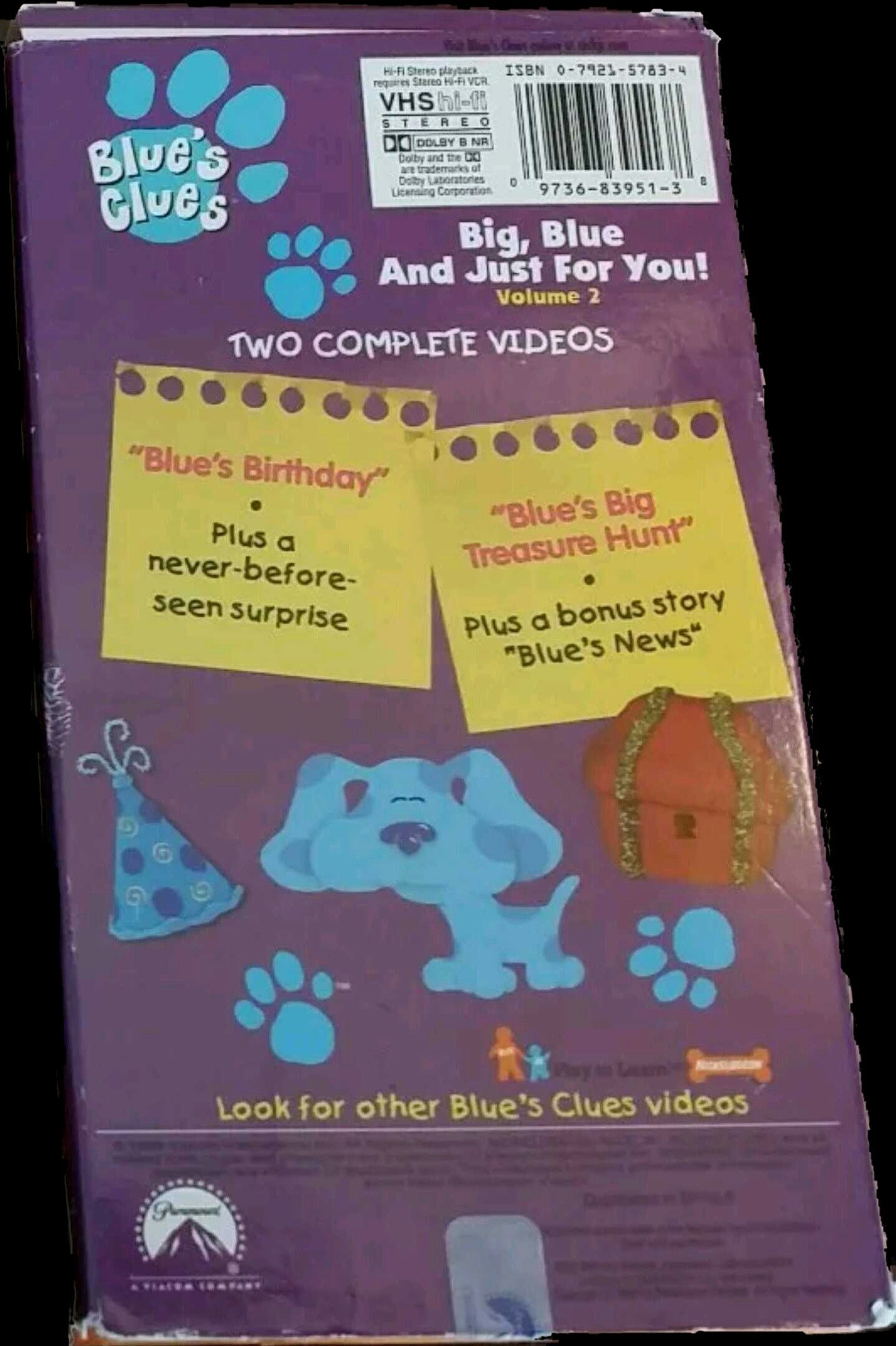Blue S Clues Big Blue And Just For You Volume 2 1999 Vhs