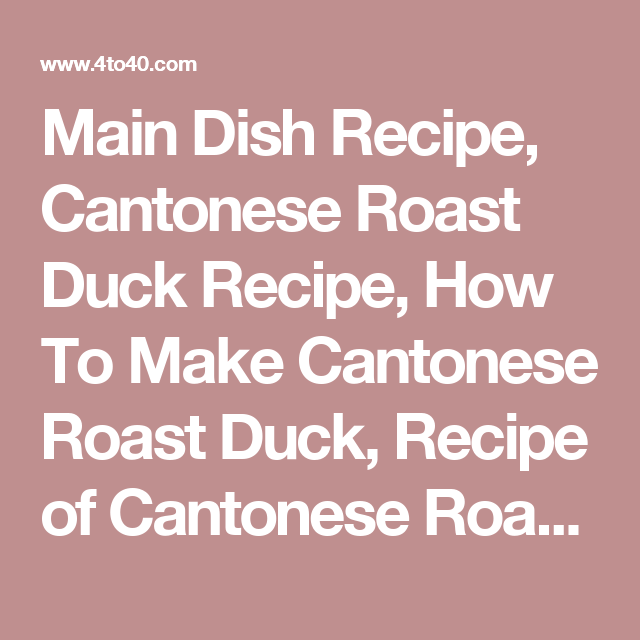 Cantonese roast duck recipes easy