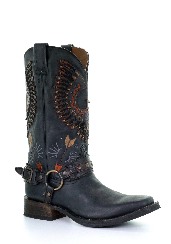 47c32f4de93 Men's Corral Eagle Overlay Black Harness Cowboy Boots - A3614 ...
