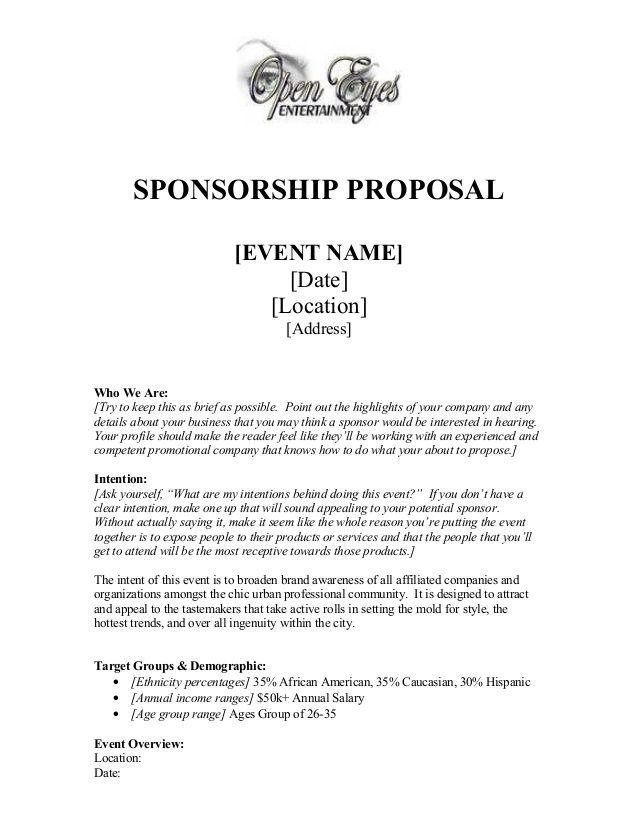 Sponsorship Proposal Sponsorship Letter Sponsorship Proposal Proposal Letter