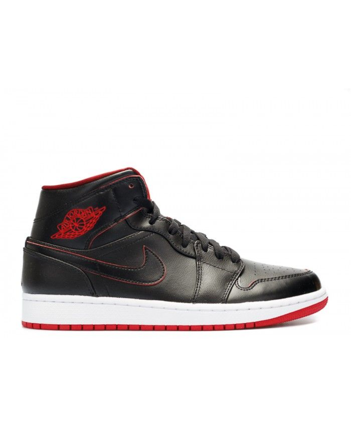 47d9f7977fc5 Air Jordan 1 Mid Black Black White Gym Red 554724 028