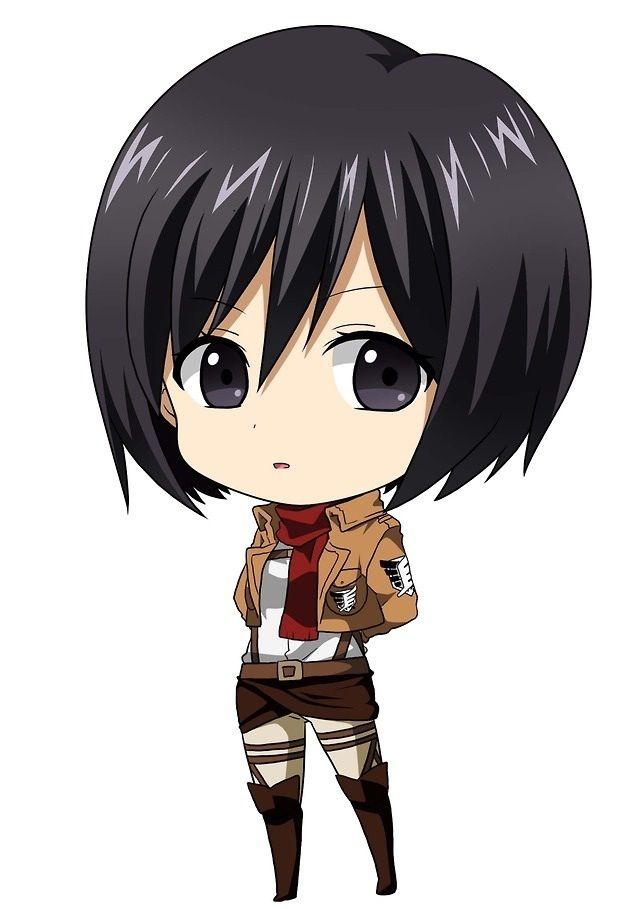 Chibi Mikasa Kartun Animasi Ilustrasi Karakter