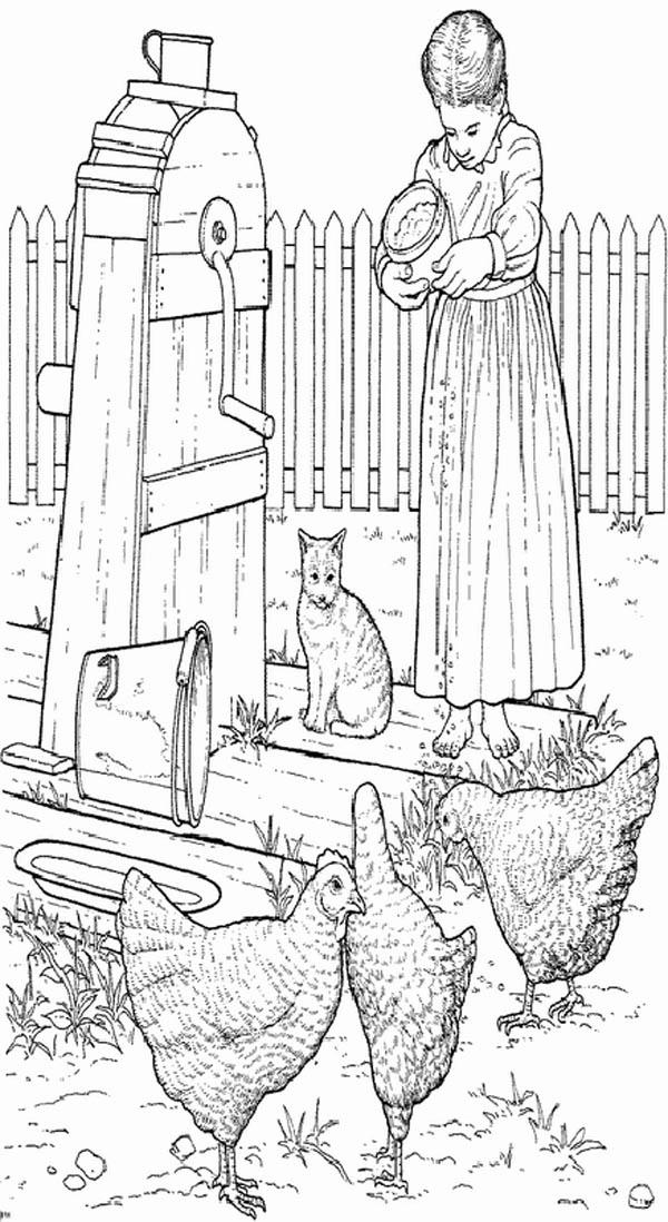 Farm Life Coloring Pages A Girl Feeding Hen Bulk Color