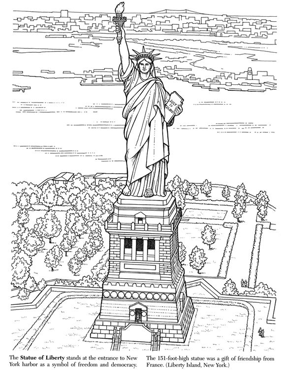 Statue Of Liberty Color Page Figuras Para Pintar Paisaje Para