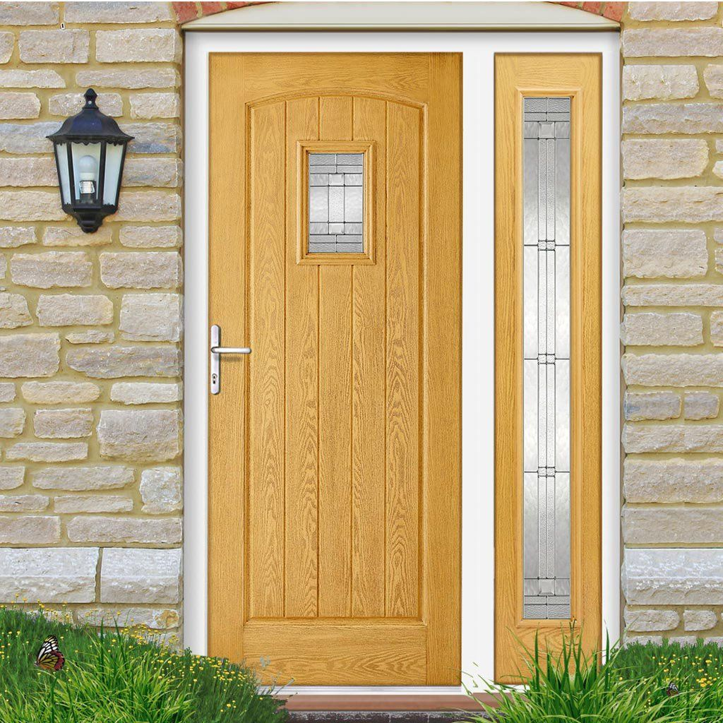 Wonderful Light Oak Composite Front Door Part - 6: GRP Oak Cottage Glazed Composite Door With Single Sidelight