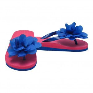 402f818cfd949 L`Amour Little Girls Royal Blue Organza Flower Flip Flops 11-4 Kids ...