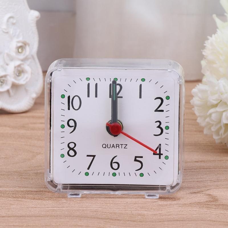 Desk Table Travel Plastic Beep Alarm Clock Mini Square Trip Portable