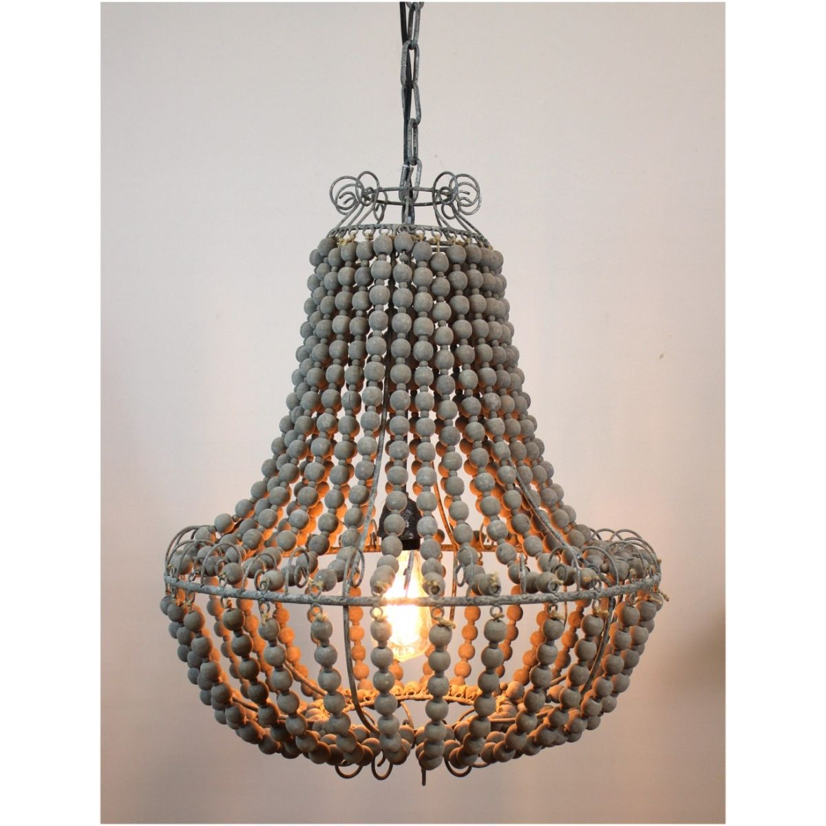 Aged Wooden Beaded Big Chandelier Hand Made Lighting Fixture Ceiling Mounted Vintage Style