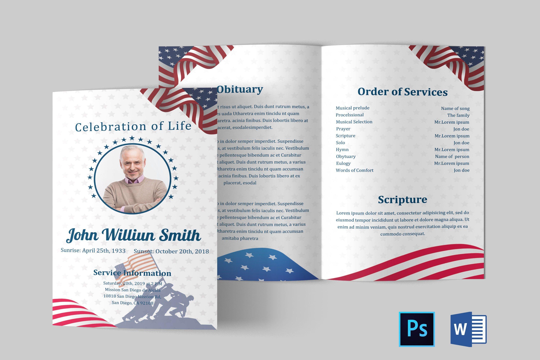 American flag military veteran funeral program template