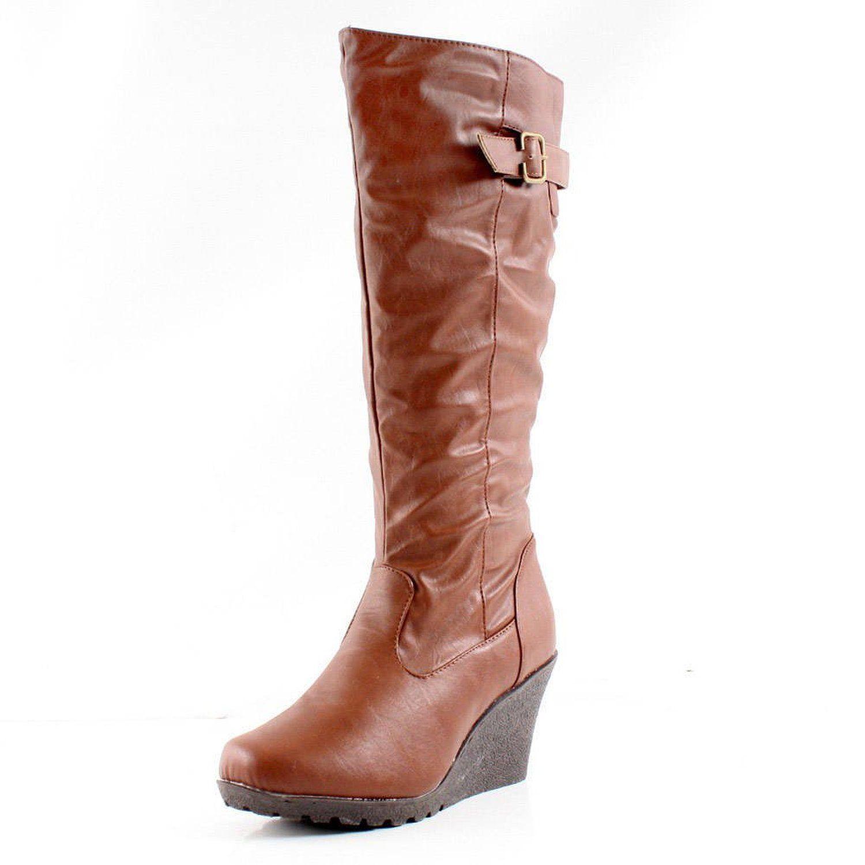 Womens West Blvd Womens Jakarta Knee High Wedge Riding Boots Best Deals Size 36