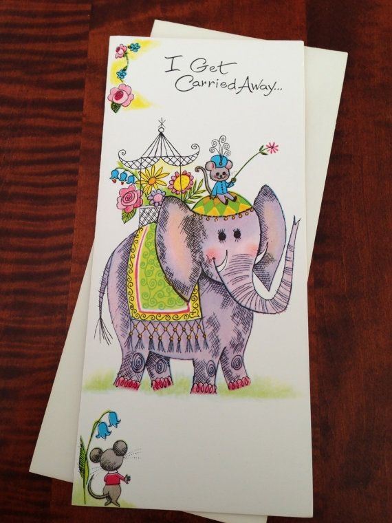 Vintage Greeting Card Indian Elephant I By Thegooseandthehound Vintage Greeting Cards Cards I Miss You Card