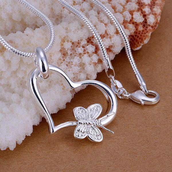 Fashion jewelry necklace pendants chains 925 jewelry silver fashion jewelry necklace pendants chains 925 jewelry silver plated necklace butterfly hanging heart pendant goib mozeypictures Gallery