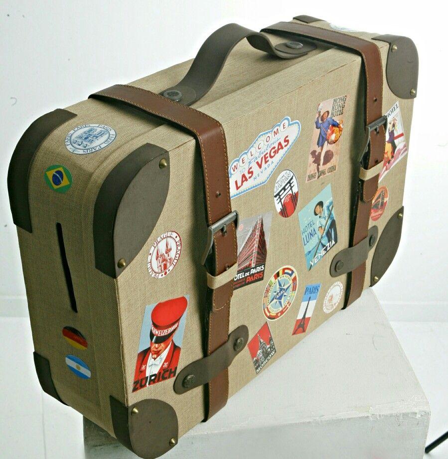 Buz n tipo maleta vintage para boda o fiesta tem tica hecha con cart n y forrada en tela - Buzon vintage ...