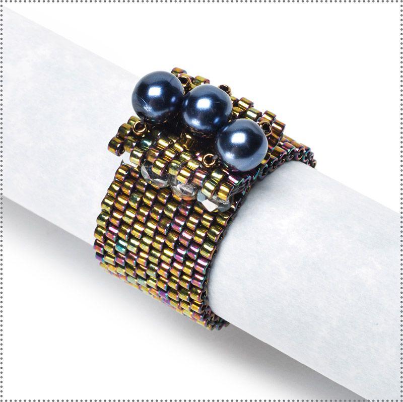 Dazzling peyote stitched ring!