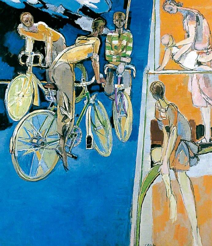 Cyclists against a Blue Background