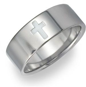 titanium cross wedding band on songearcom christian shirts jewelry - Cross Wedding Rings