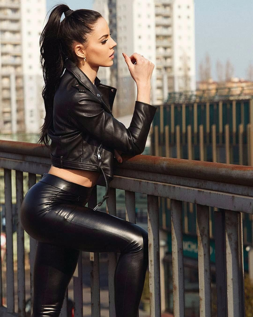 Women. In Leather Jacket