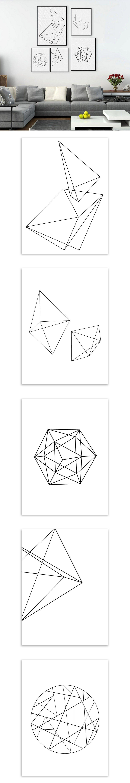 Modern nordic minimalist black white geometric shape a large art