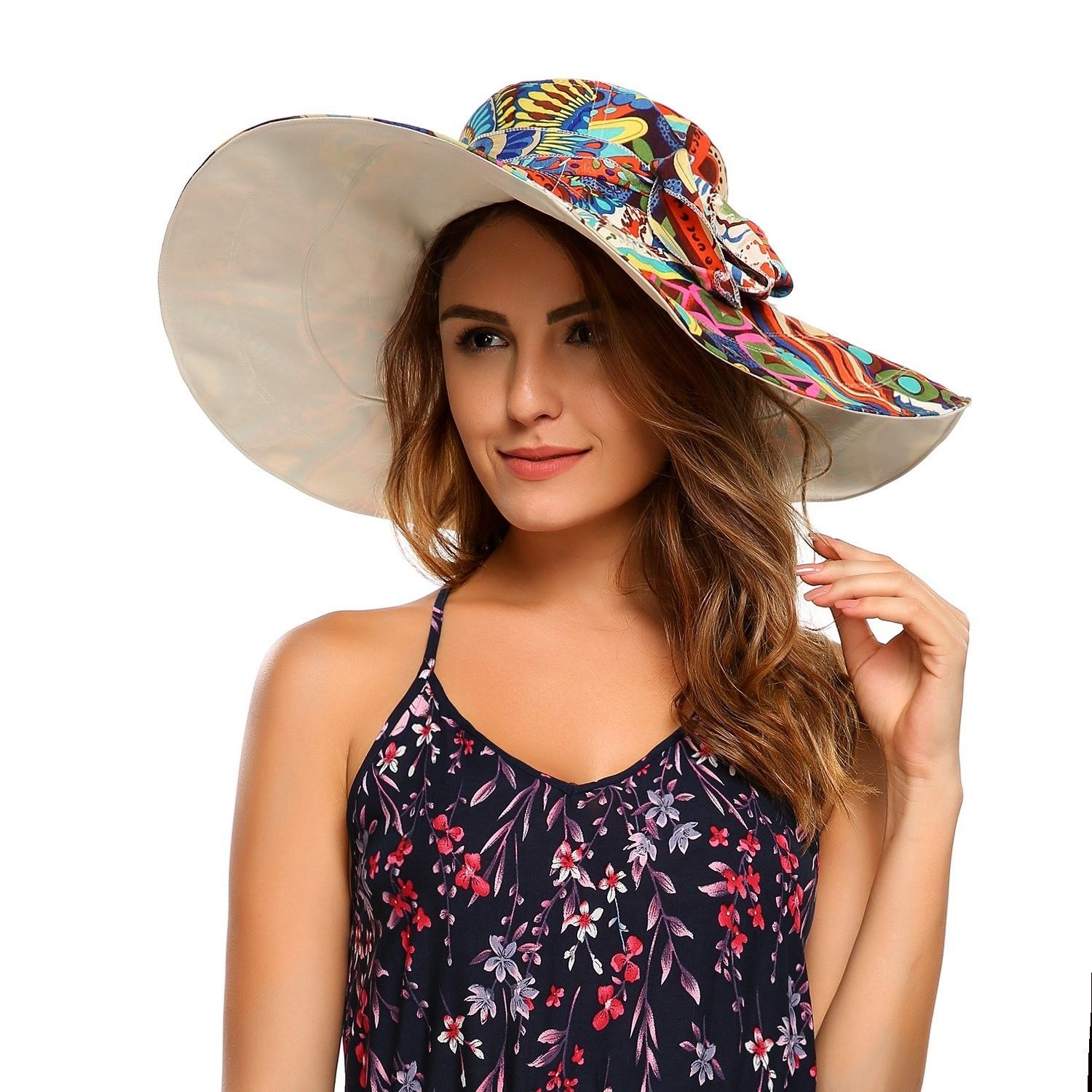 6ed66aa5a408c Women s Floral UPF 50+ Foldable Reversible Wide Brim Cap Floppy Travel  Beach Sun Visor Hat - Beige - CD182GQAWLY - Hats   Caps