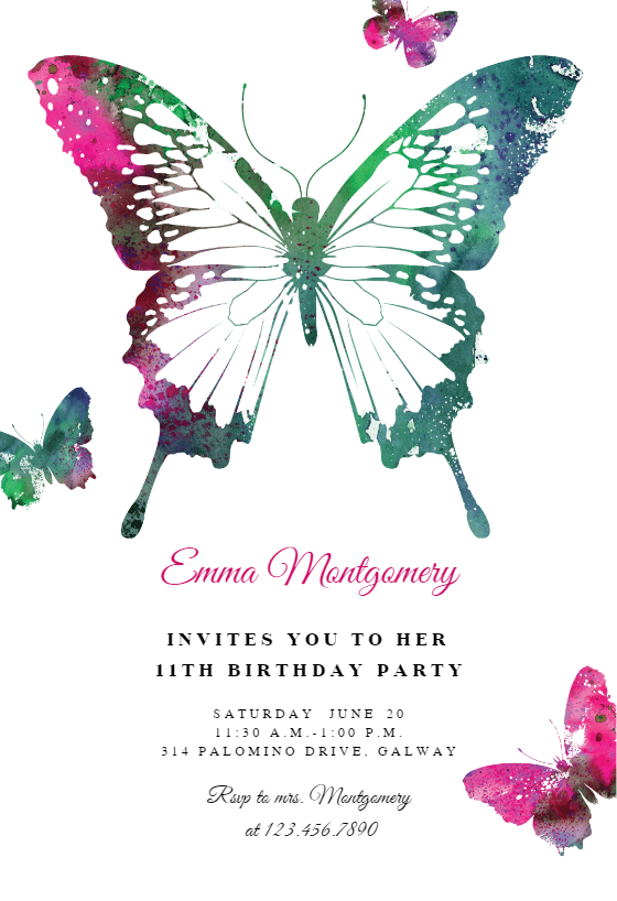 Butterflies Birthday Invitation Template Free Greetings Island Butterfly Invitations Butterfly Birthday Invitations Party Invite Template