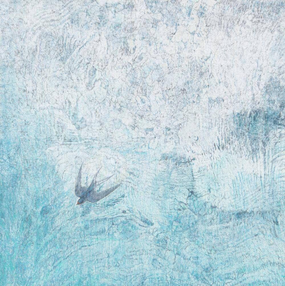 接西藤哲夫 清流を飲む 日本画 絵画 イラスト
