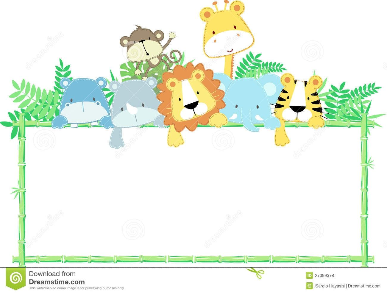 Animal Border Clipart - Collection Baby Safari . Little Shower