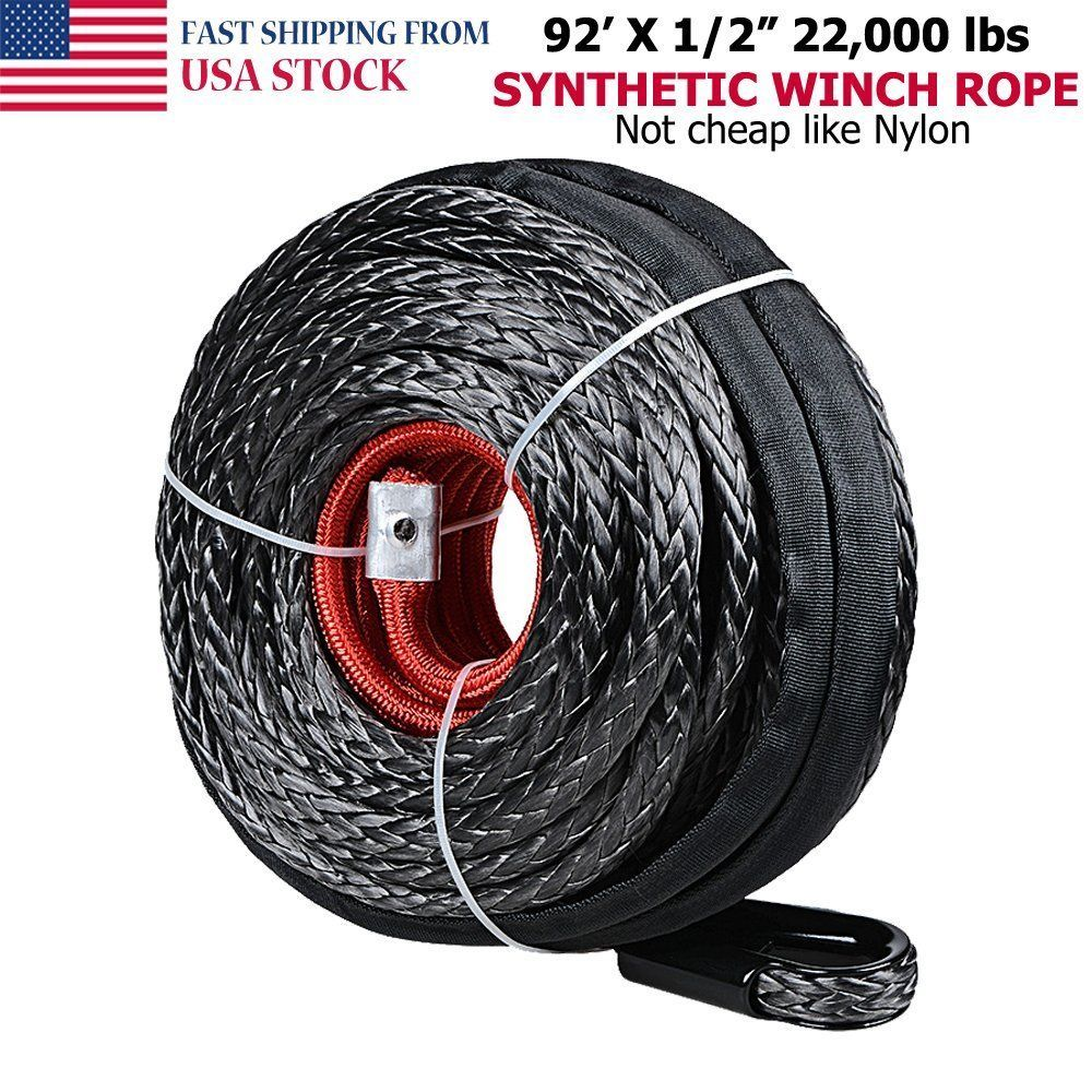 For Jeep Atv Utv Synthetic Winch Rope Fairlead Line Cable 22000 Lbs 1 2 X 92 Winch Rope Synthetic Winch Rope Winch