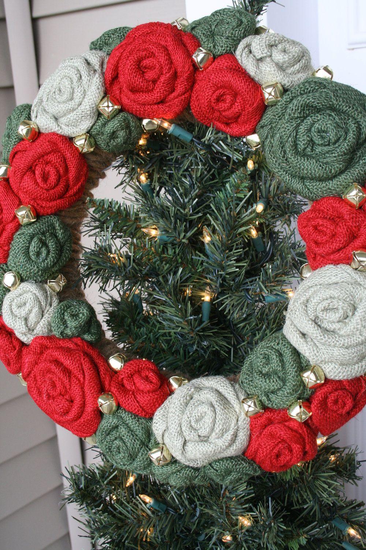 Christmas Jute Yarn Wreath/Burlap Flowers/Roses/Jingle