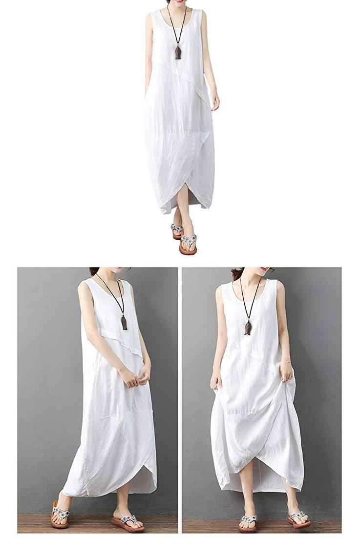 Ninmon Shares Women S Irregular Dress Sleeveless Cotton Linen Loose Casual Long Dress Short Linen Dresses Vintage Linen D Linen Dress Women Linen Women Dresses [ 1102 x 735 Pixel ]