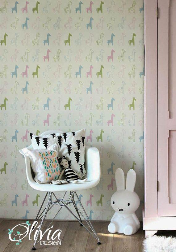 Giraffe Self Adhesive Kids Room Wallpaper Peel And Stick Etsy Kids Room Wallpaper Room Wallpaper Nursery Wallpaper