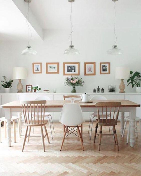 Photo of Dining table in a Scandinavian concept with a trendy concept