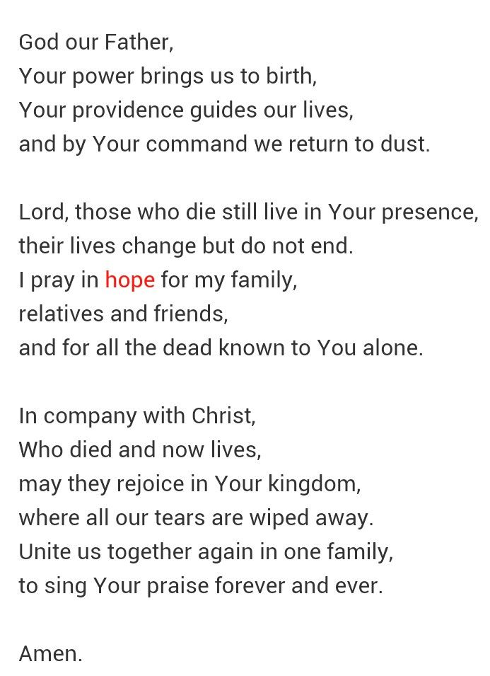 Catholic prayer when someone dies