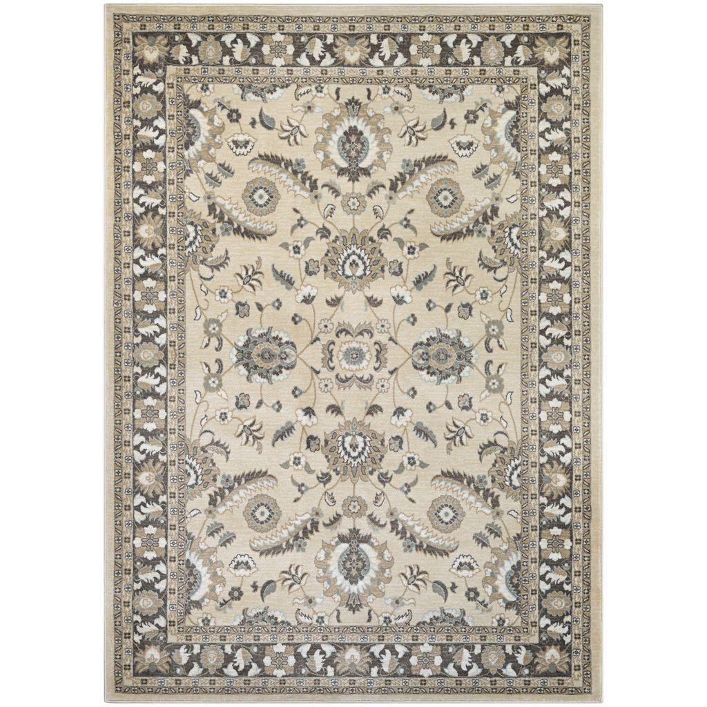 Couristan Konya Mardin/ lt Beige-charcoal Rug (9' x 13') (Mardin/Light Beige-Charcoal), Beige, Size 9' x 13' (Plastic, Oriental)